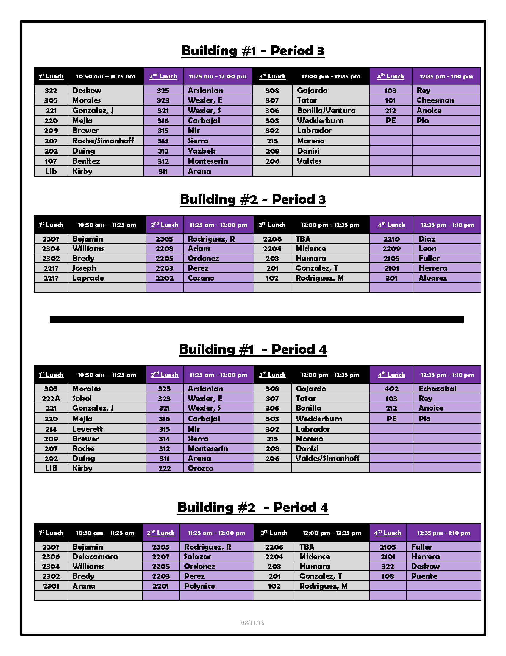 Lunch Schedule 2018-2019