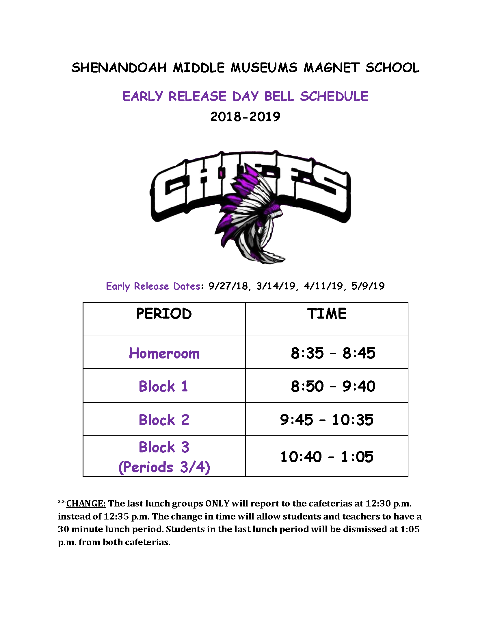 Early Release Schedule 18